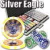 1000pc Silver Eagle professional Texas customized poker chip set