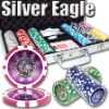 300pc Silver Eagle professional Texas customized poker chip set
