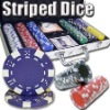 300pc Striped Dice professional Texas customized poker chip set