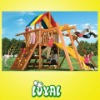 Colorful outdoor wooden playground