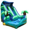Inflatable Tropical Oasis Curved Inflatable Water Slide
