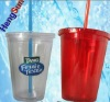 plastic drinking cup with straw