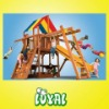 wooden children swing slide